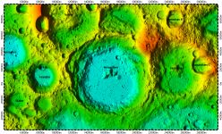 Amundsen Crater on South Pole of Moon, topography