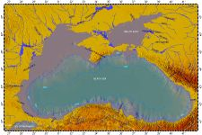 Black Sea, topography with bathymetry