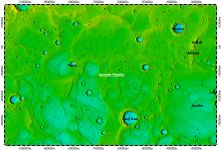 Borealis Planitia on North Pole of Mercury, topography