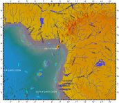 Cameroon line, topography with bathymetry