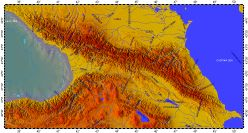 Caucasus, topography with bathymetry