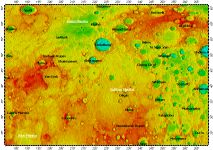 H-03 Shakespeare quadrangle of Mercury, topography