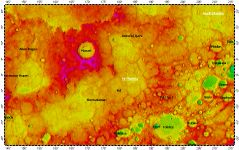 H-08 Tolstoj quadrangle of Mercury, topography