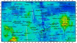 I-2457 Guinevere Planitia big quadrangle of Venus, topography