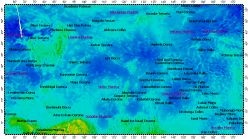 I-2467 Niobe Planitia big quadrangle of Venus, topography