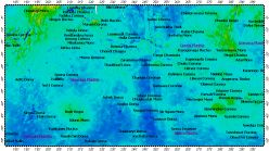 I-2477 Helen Planitia big quadrangle of Venus, topography