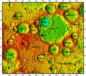 LAC-35 Landau quadrangle of Moon, topography