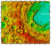 LAC-48 Mare Moscoviense quadrangle of Moon, topography