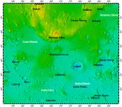 MC-25 Thaumasia quadrangle of Mars, topography