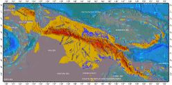 New Guinea, topography with bathymetry