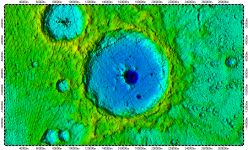 Prokofiev crater on North Pole of Mercury, topography