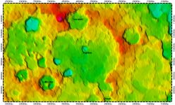Pushkin crater on South Pole of Mercury, topography