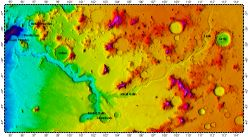 Reull Vallis on Mars, topography with adjusted colors