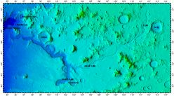 Reull Vallis on Mars, topography