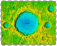 Rustaveli crater on North Pole of Mercury, topography