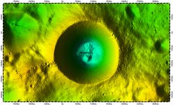 Shackleton Crater on South Pole of Moon, topography