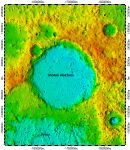 Sholem Aleichem crater on North Pole of Mercury, topography