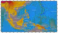 South-East Asia, topography with bathymetry