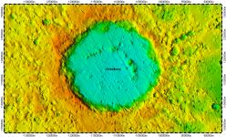 Strindberg crater on North Pole of Mercury, topography
